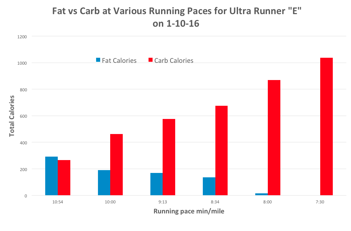 """Fat vs Carb at Various Running Paces for Ultra Runner """"E"""" on 1-10-16"""