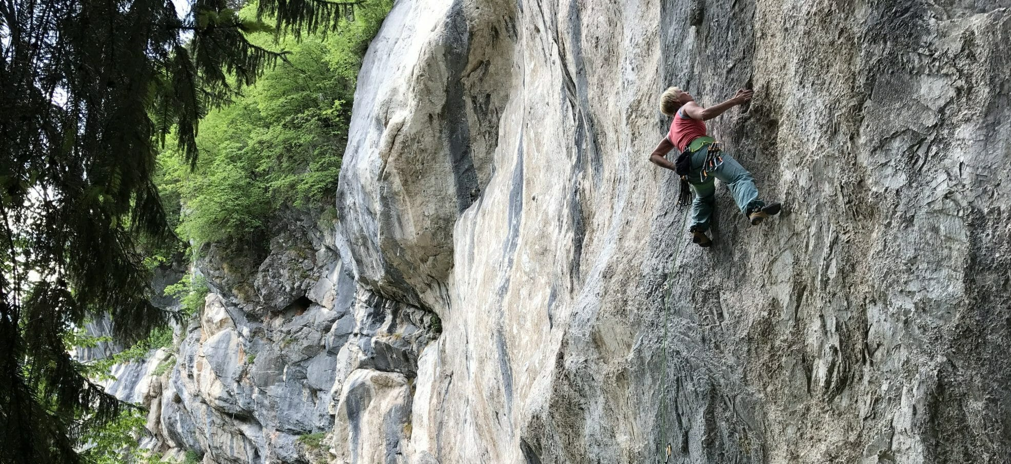 Claudia Pacher climbing in Austria.