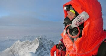 Summit Ridge of Everest with a 2016-model OnTop Oxygen Mask. Bill Allen Photo